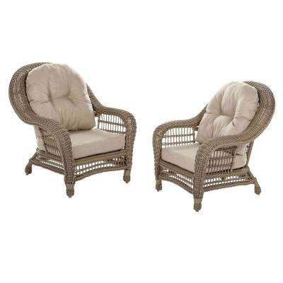 Saturn Wicker Outdoor Lounge Chair with Beige Cushion (2-Piece)