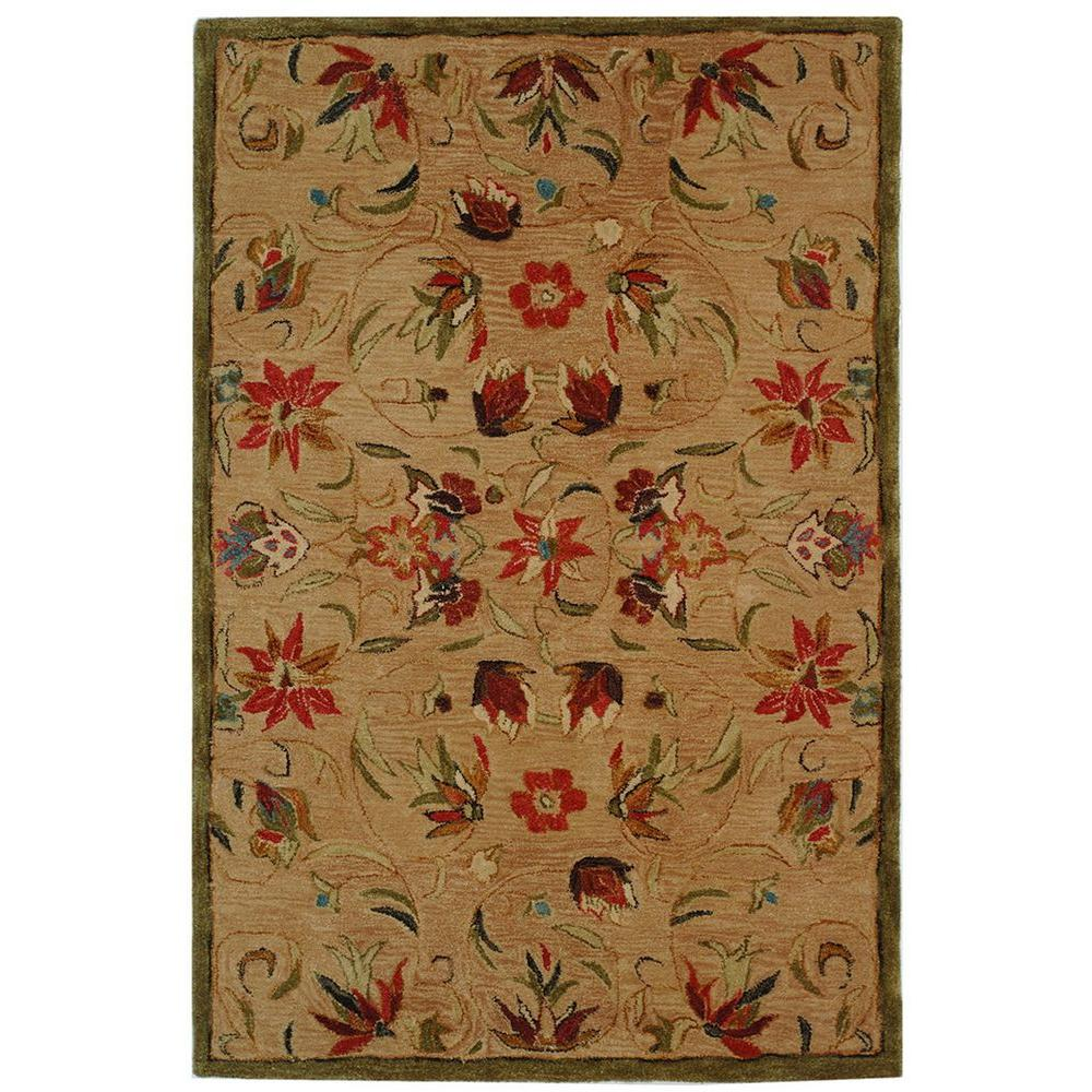 Anatolia Beige/Green 4 ft. x 6 ft. Area Rug