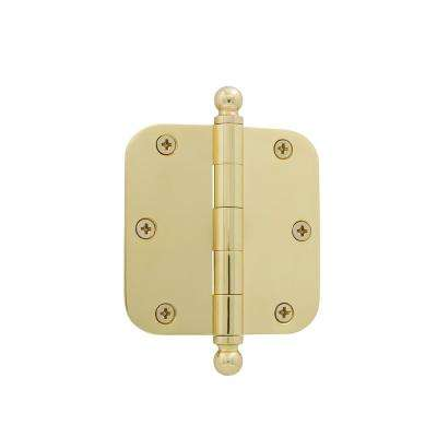 3.5 in. Ball Tip Residential Hinge with 5/8 in. Radius Corners in Unlacquered Brass