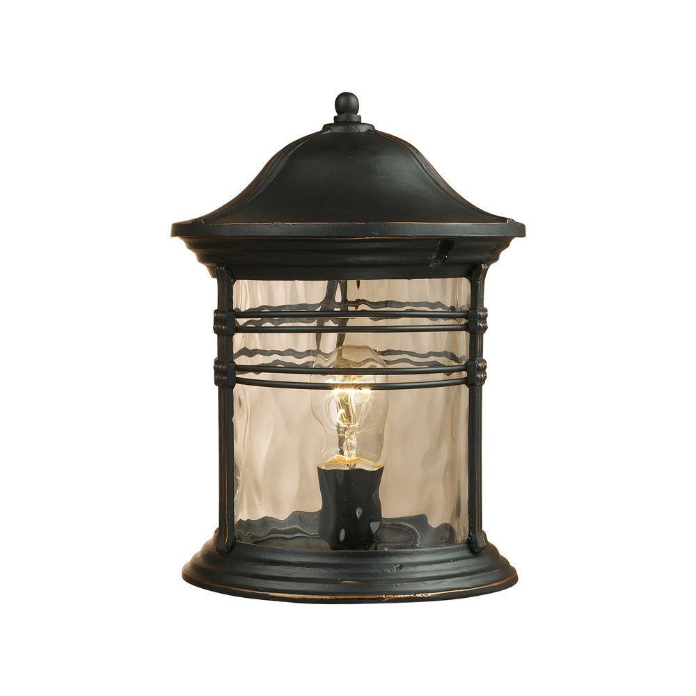 Madison 1-Light Outdoor Matte Black Post Light