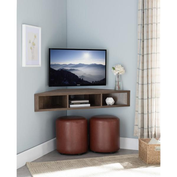 Furniture Of America Emmeline 47 In Walnut And Oak Particle Board Corner Tv Stand Fits Tvs Up To 46 In With Cable Management Idi 182359 The Home Depot
