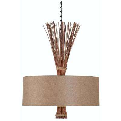 Sheaf 3-Light Oil Rubbed Bronze with Natural Reed Pendant
