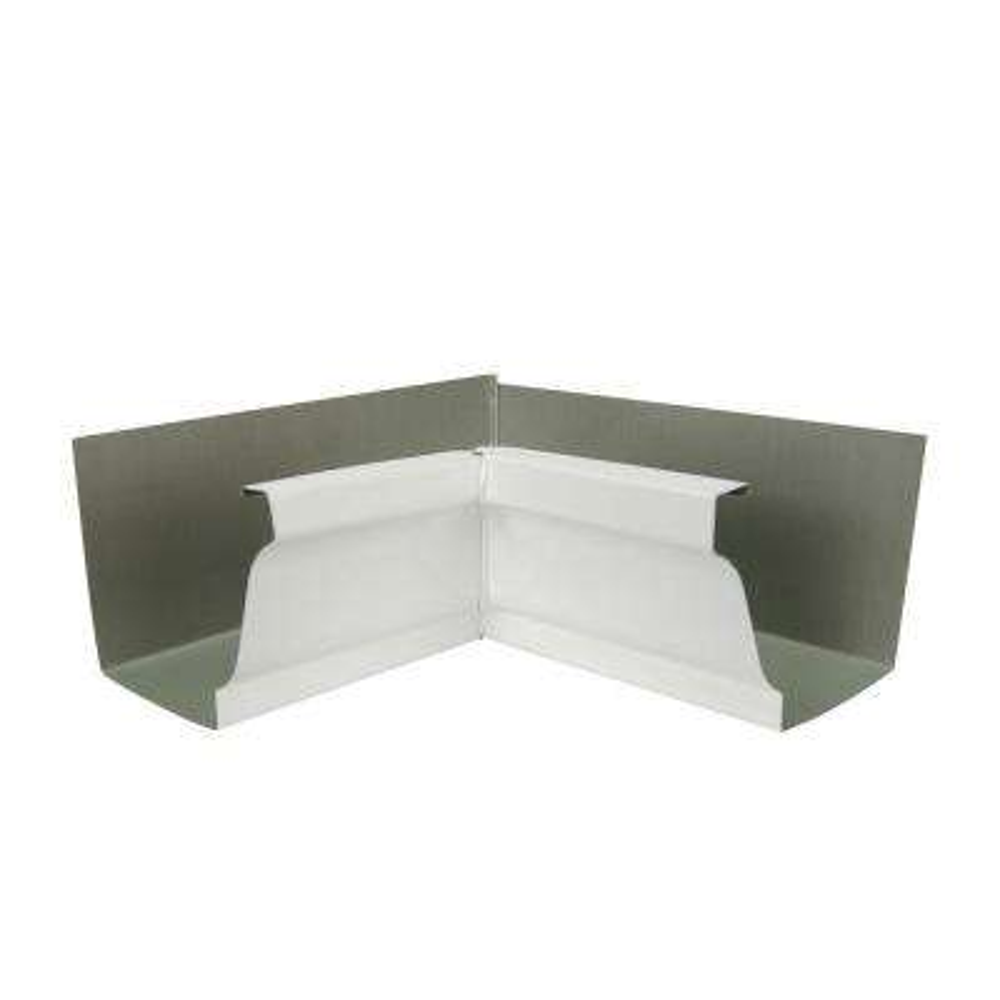 6 in. White Aluminum 80 Degree Inside Box Gutter Miter