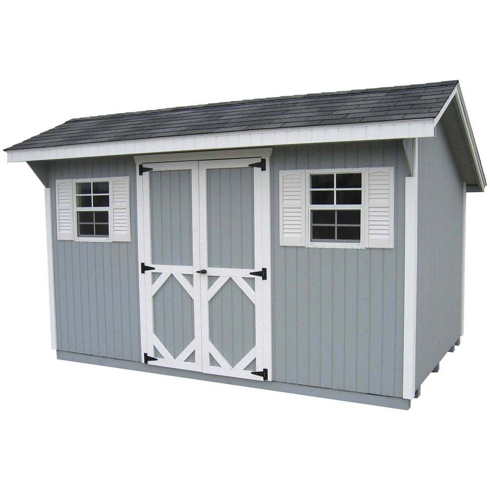 LITTLE COTTAGE CO. Classic Saltbox 8 ft. x 10 ft. Wood Storage Building DIY Kit with Floor