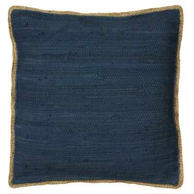 Solitaire Navy Blue Woven Jute Border Cozy Poly-fill 20 in. x 20 in. Throw Pillow