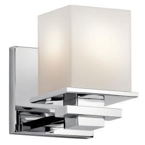 Tully 1-Light Chrome Wall Sconce with Satin Etched Cased Opal Glass Shade