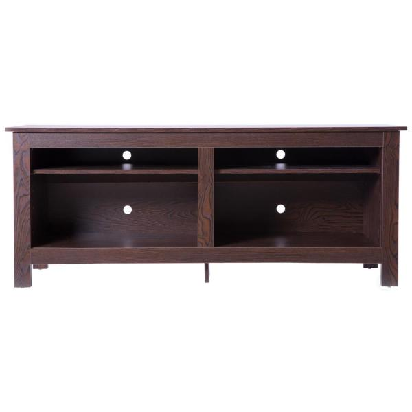 Basicwise Brown Wooden TV Stand Console Table with Shelves QI003459.BR