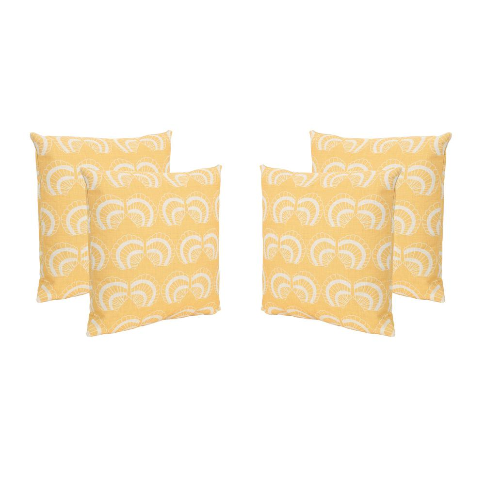 Noble House Sea Shells Beige and Orange Square Outdoor Throw Pillows (Set of 4)