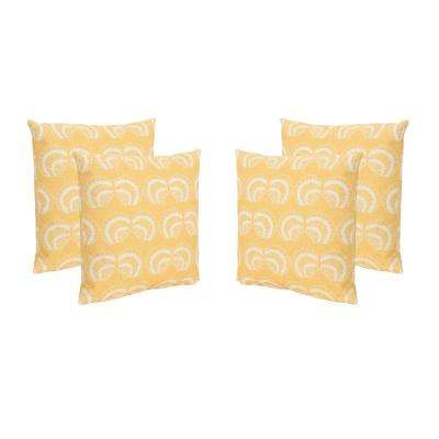 Sea Shells Beige and Orange Square Outdoor Throw Pillows (Set of 4)
