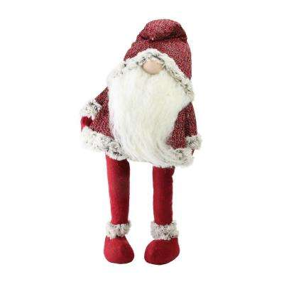 25.25 in. Lets Bounce Decorative Ruby Red and White Santa Claus Christmas Gnome