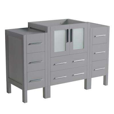 Torino 48 in. W Bath Vanity Cabinet Only in Gray with Side Cabinets