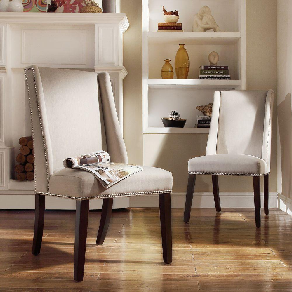 Dining Room Wing Chairs: HomeSullivan Mansfield Ash Fabric Wing Back Dining Chair