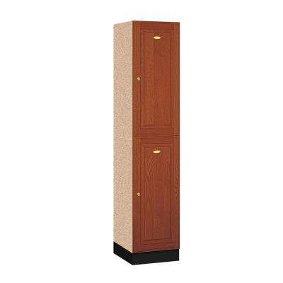 12000 Series 16 in. W x 76 in. H x 18 in. D 2-Tier Solid Oak Executive Locker in Medium Oak