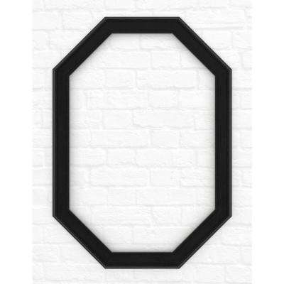 33 in. x 46 in. L3 Octagonal Mirror Frame in Matte Black