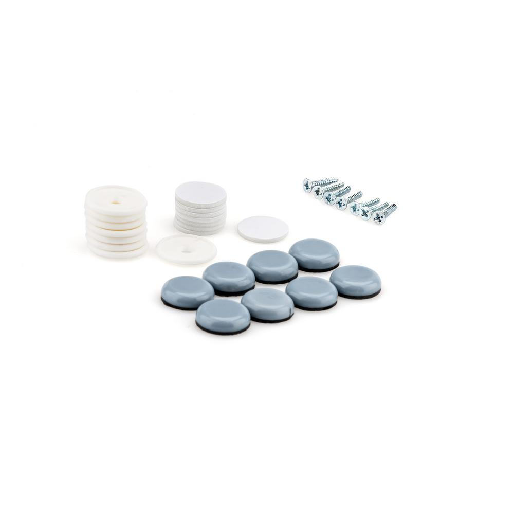 3/4 in. Gray and White Base Screw-on Glides (8-Pack)
