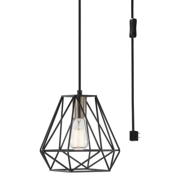 Dawson 1-Light Dark Bronze Plug-In or Hardwire Pendant Lighting with 15 ft. Cord