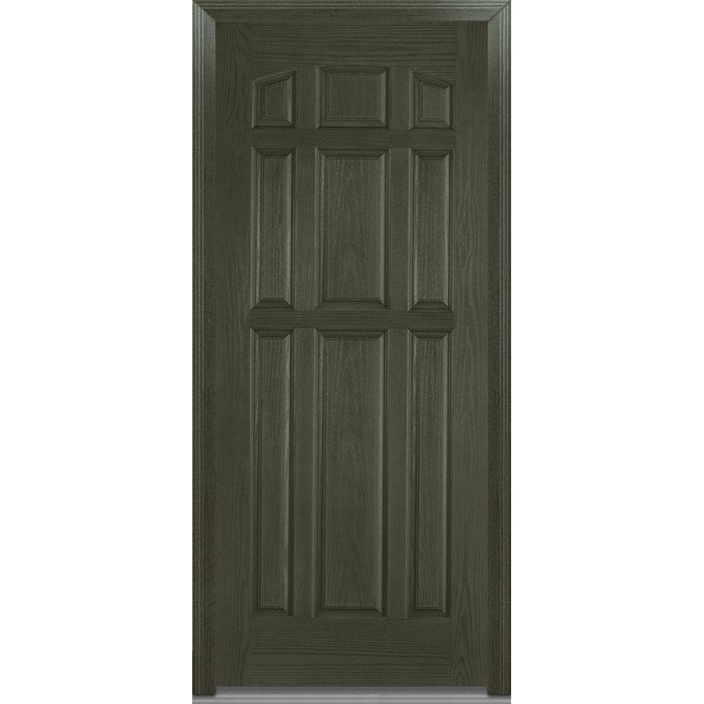 Mmi door 36 in x 80 in severe weather right hand outswing 9 panel stained fiberglass oak 36 x 80 outswing exterior door
