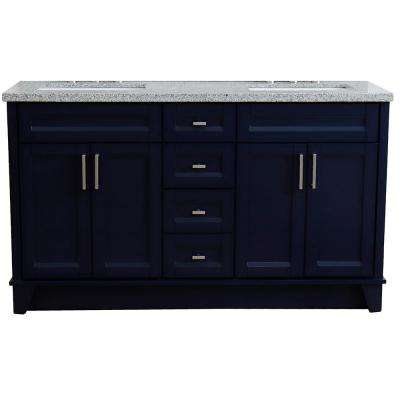 61 in. W x 22 in. D Double Bath Vanity in Blue with Granite Vanity Top in Gray with White Rectangle Basins