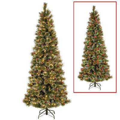 6.5 ft. PowerConnect Glittering Pine Artificial Christmas Slim Tree with Dual Color LED Lights