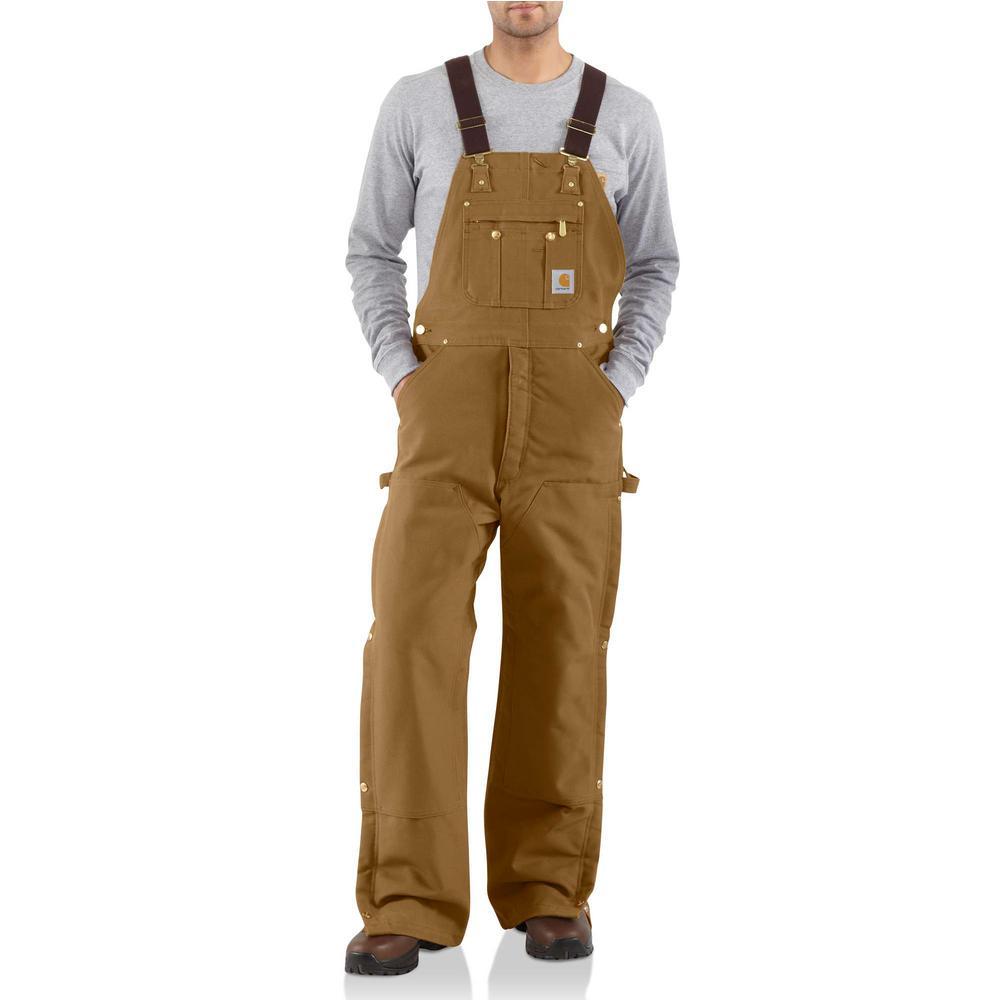 Men's 44 in. x 34 in. Carhartt Brown Cotton Quilt Lined Zip to Thigh Bib Overalls