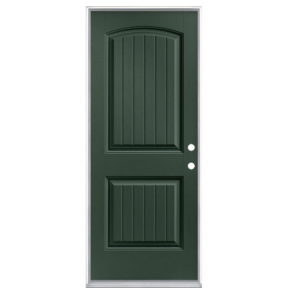 Masonite 32 in. x 80 in. Cheyenne 2-Panel Left Hand Inswing Painted Smooth Fiberglass Prehung Front Exterior Door No Brickmold