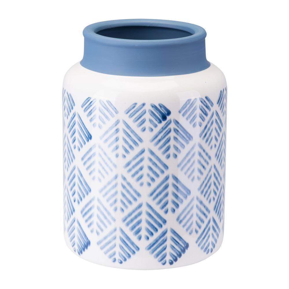 Steel Blue And White Zig Zag Small Decorative Vase