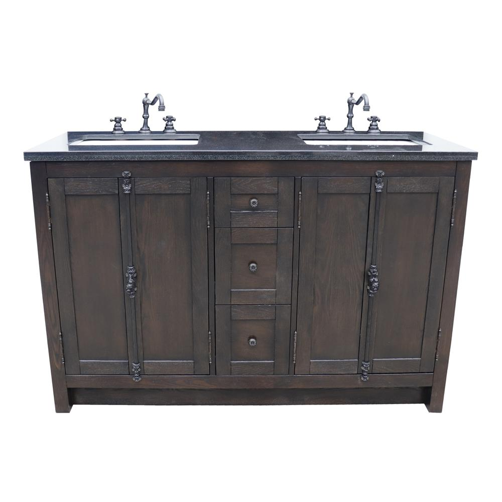Bellaterra Home Plantation 55 in. W x 22 in. D Double Bath Vanity in Brown with Granite Vanity Top in Black with White Rectangle Basins