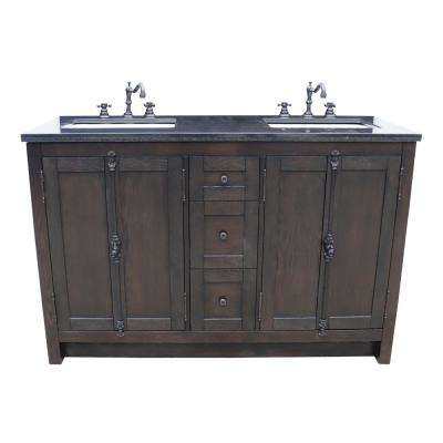 Plantation 55 in. W x 22 in. D Double Bath Vanity in Brown with Granite Vanity Top in Black with White Rectangle Basins