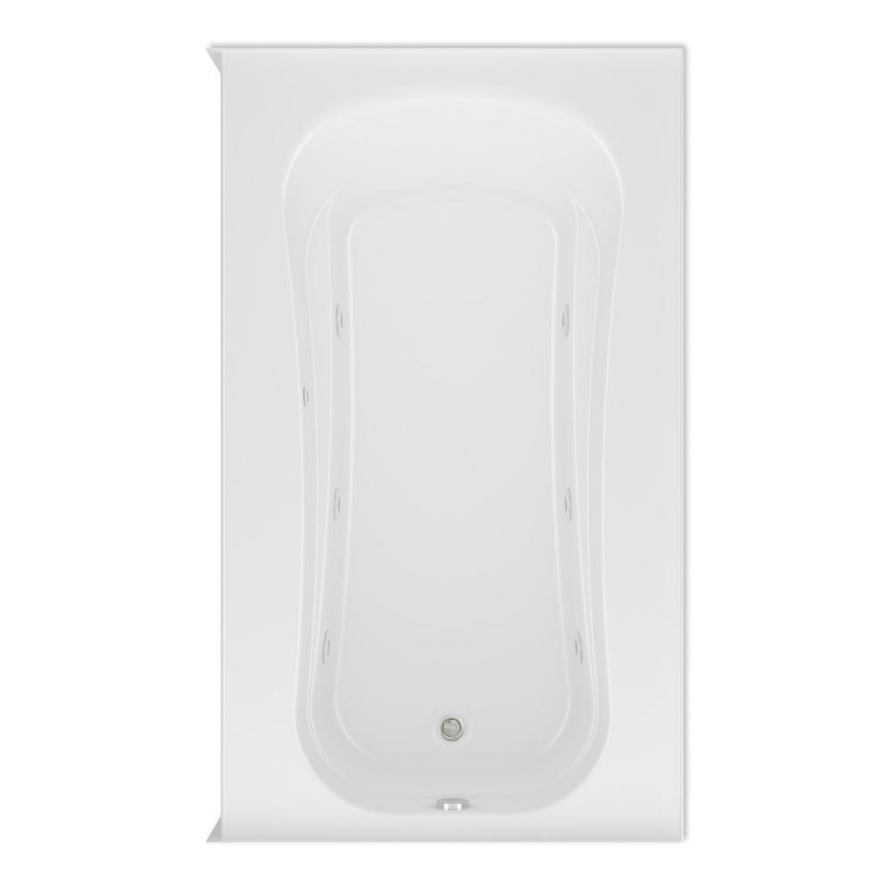 Aquatic Cariani 72 in. Acrylic Right Drain Rectangular Alcove Whirlpool Bathtub in White