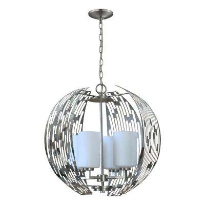4-Light Brushed Nickel Symie Chandelier with White Glass Shade