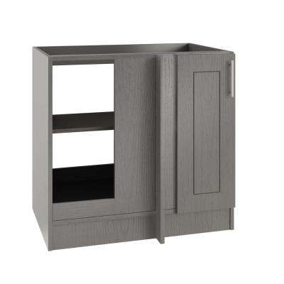 Assembled 39x34.5x24 in. Blind Outdoor Kitchen Base Corner Cabinet with Full Height Door Left in Palm Beach Rustic Gray