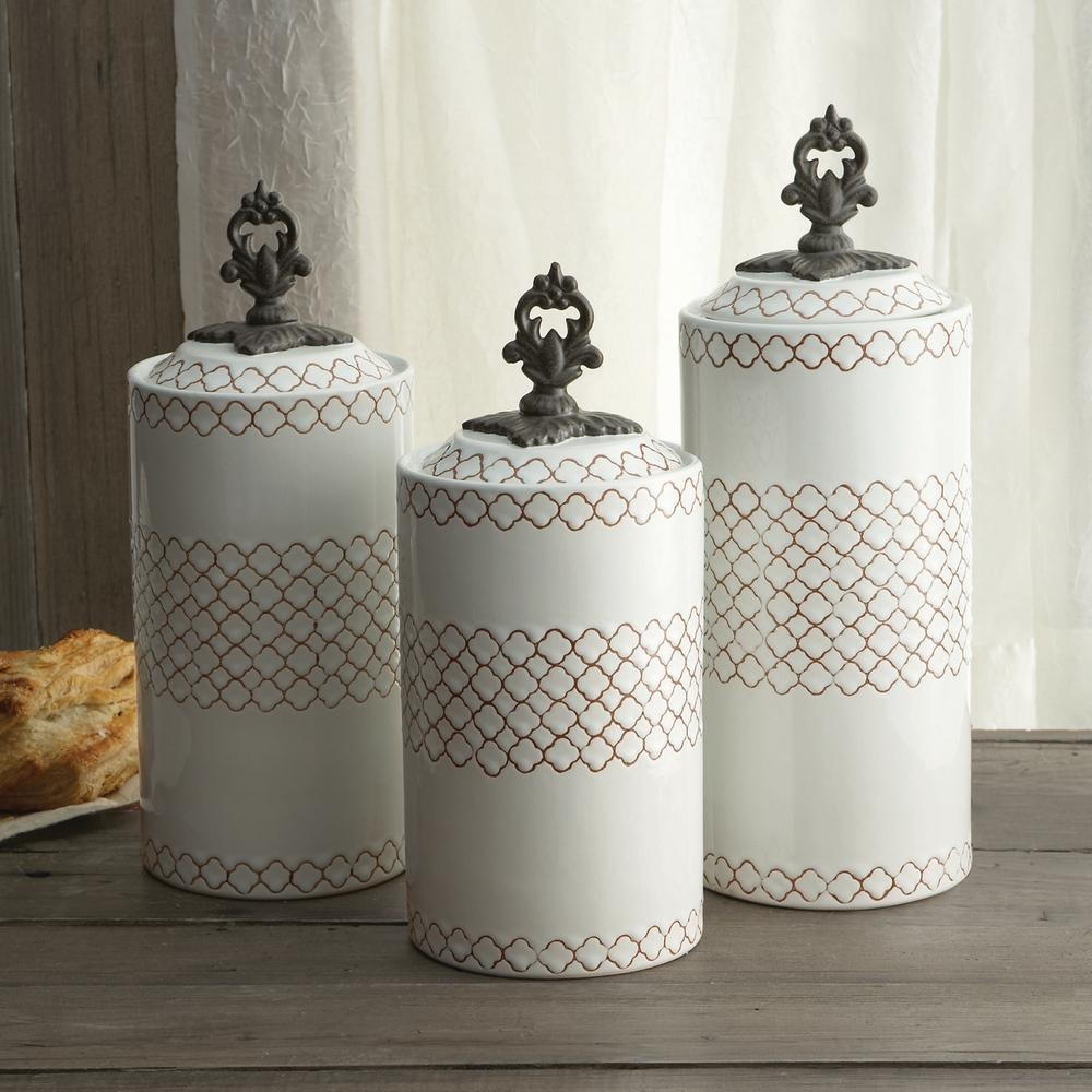 3-Piece White Ceramic Canister Set with Lid