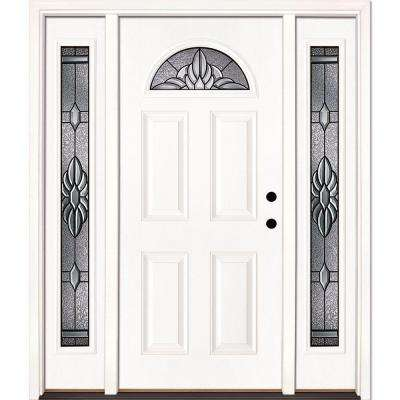63.5 in. x 81.625 in. Sapphire Patina Fan Lite Unfinished Smooth Left-Hand Fiberglass Prehung Front Door with Sidelites