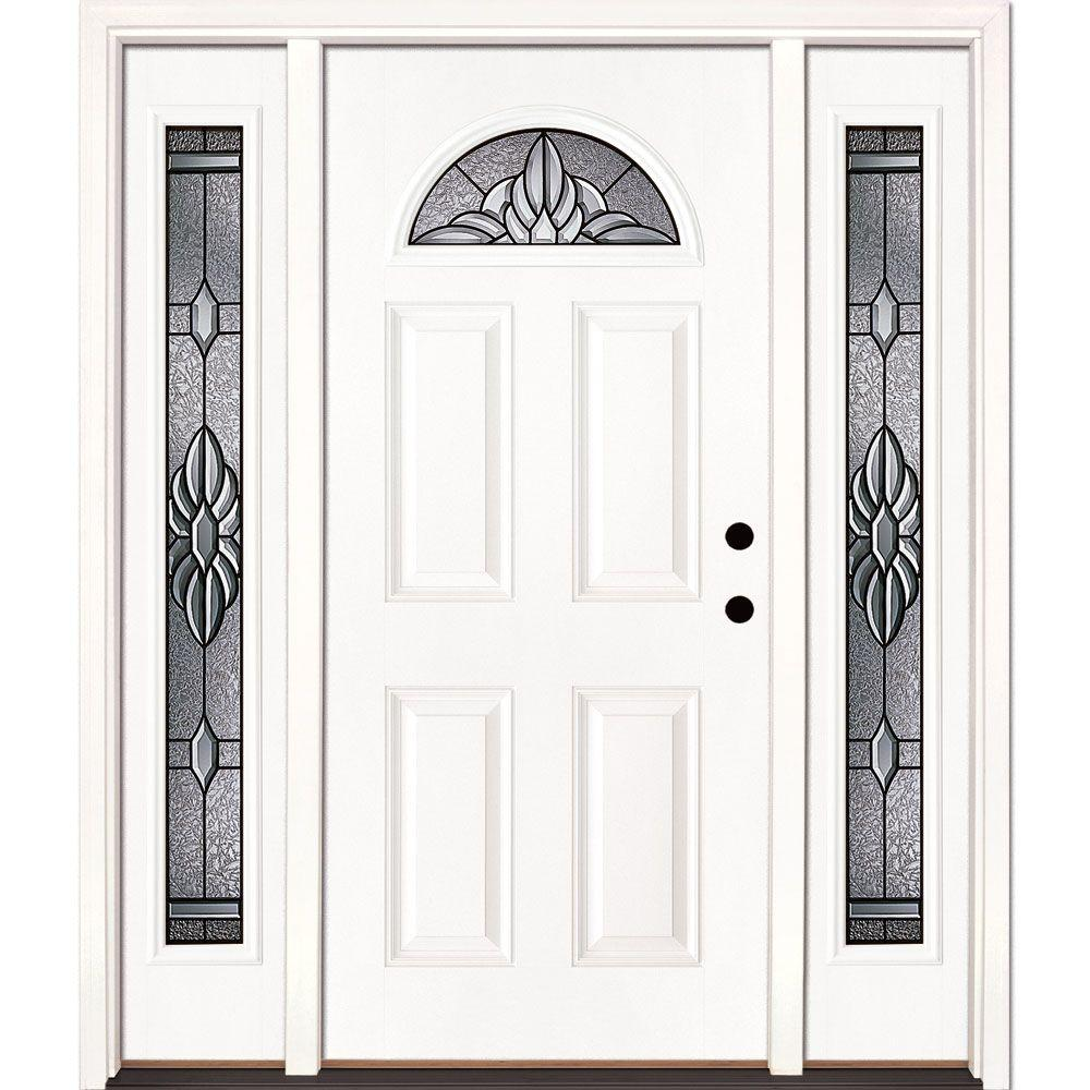 Feather River Doors 67.5 in. x 81.625 in. Sapphire Patina Fan Lite Unfinished Smooth Left-Hand Fiberglass Prehung Front Door with Sidelites