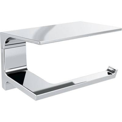 Pivotal Toilet Paper Holder with Shelf in Chrome