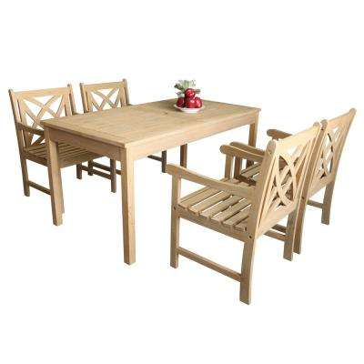 Beverly 5-Piece Sand-Splashed Wood Outdoor Dining Set
