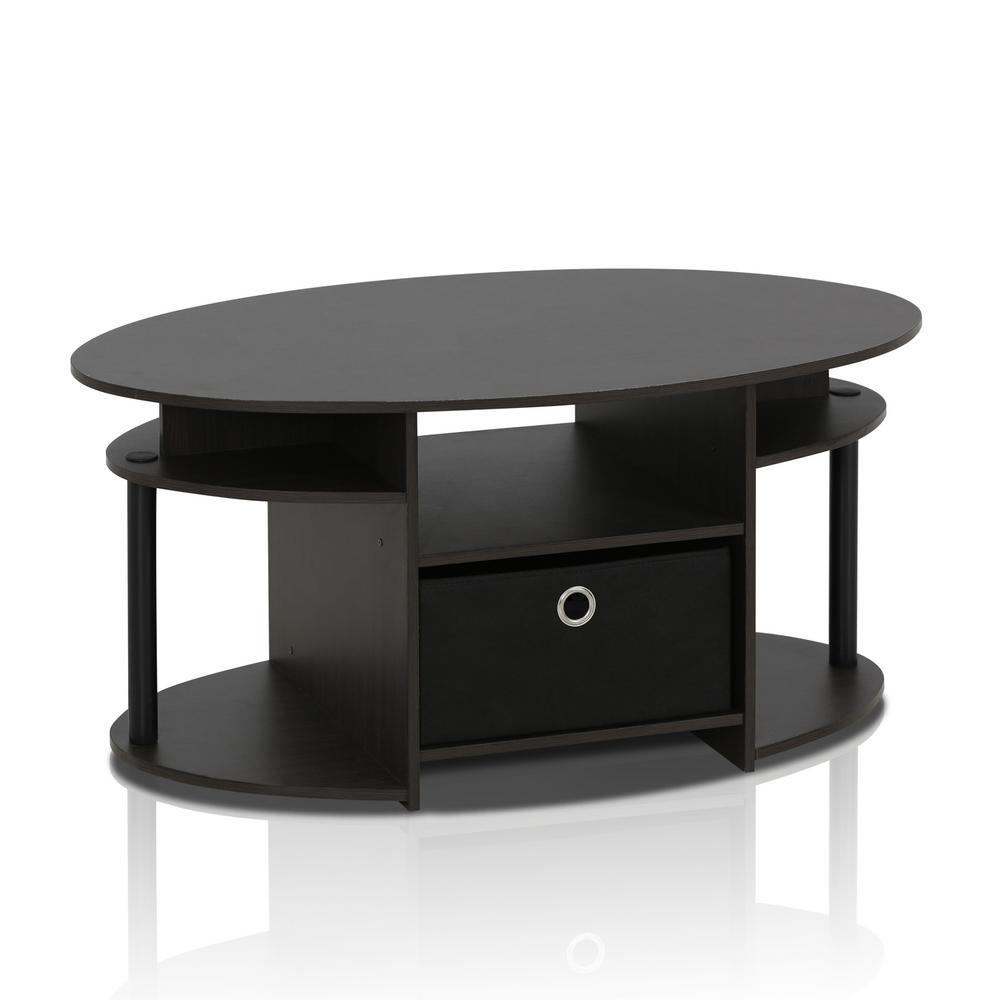 JAYA Walnut and Black Built-In Storage Coffee Table