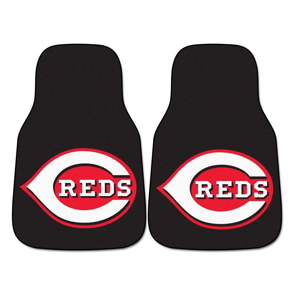 FANMATS Cincinnati Reds 18 in. x 27 in. 2-Piece Carpeted Car Mat Set