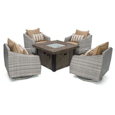 Cannes 5-Piece Motion Wicker Patio Fire Pit Conversation Set with Maxim Beige Sunbrella Cushions
