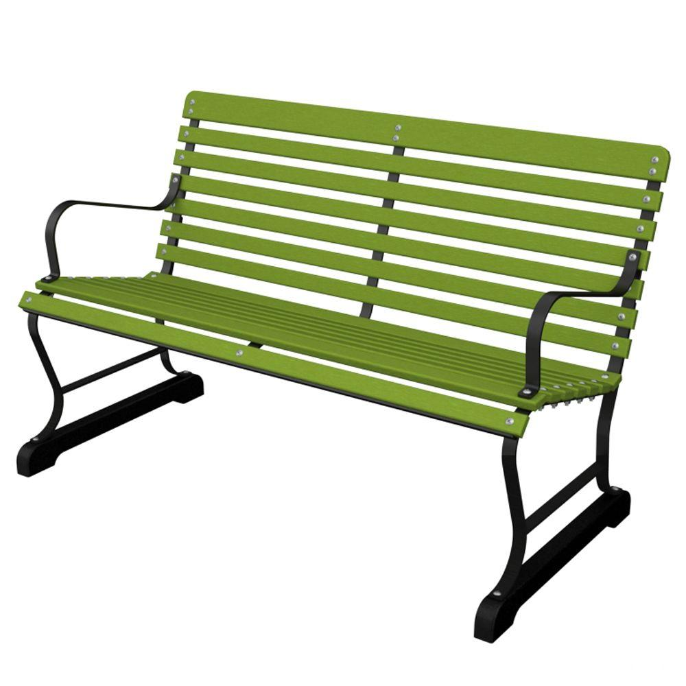 47 in. Vintage Black/Lime Patio Bench