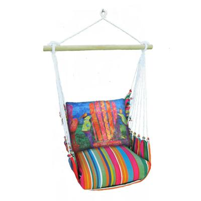 3-Piece Wood Polyester Cushioned Porch Swing with Colorful Chair Print Back Pillow