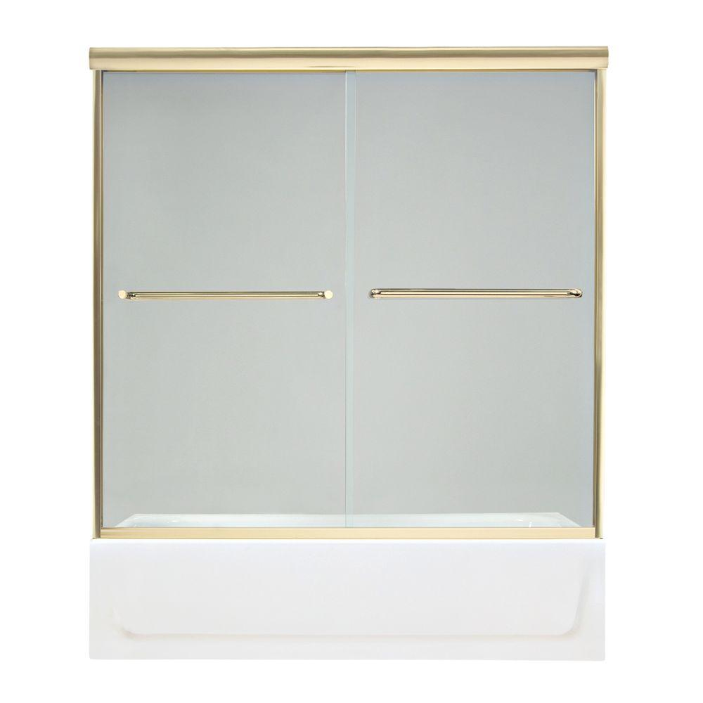 MAAX Tonik 54 in. to 59-1/2 in. W Tub Door in Polished Brass-DISCONTINUED
