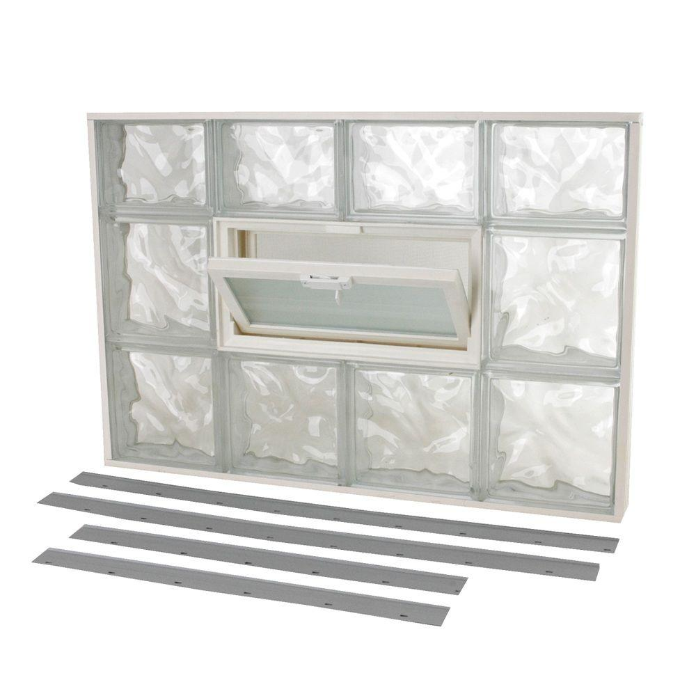 TAFCO WINDOWS 31 in. x 21.25 in. NailUp2 Wave Pattern Glass Block Window