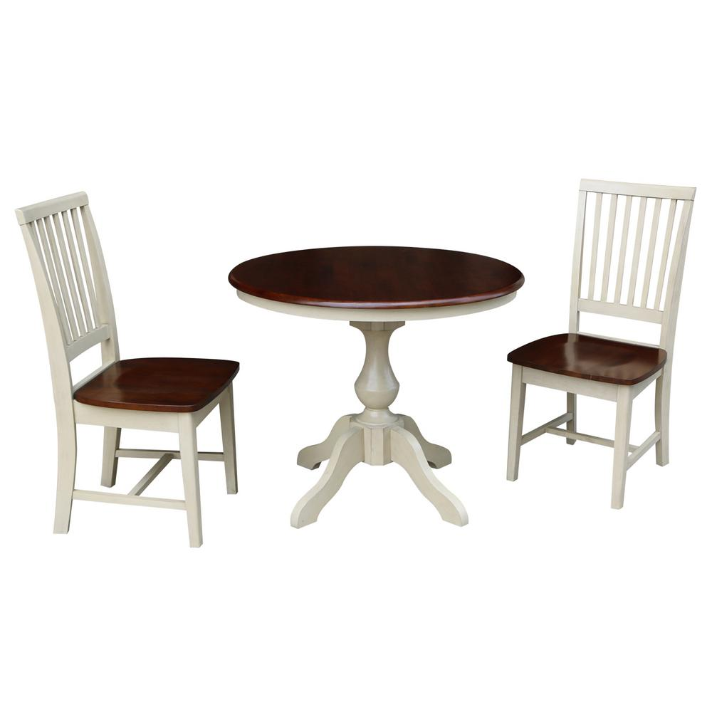 International Concepts Sophia 3 Piece Almond And Espresso Dining Set With  36 In. Round