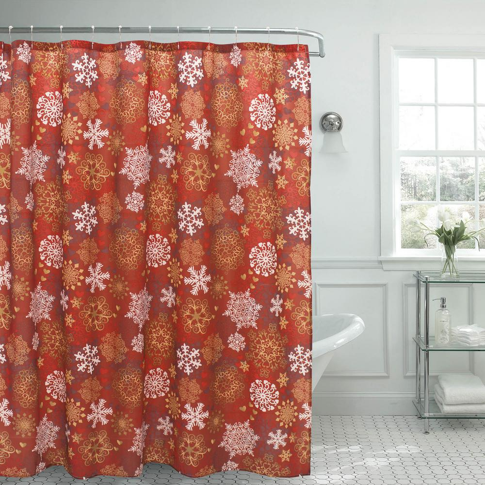 Snowflakes Christmas 70 In X 72 Shower Curtain