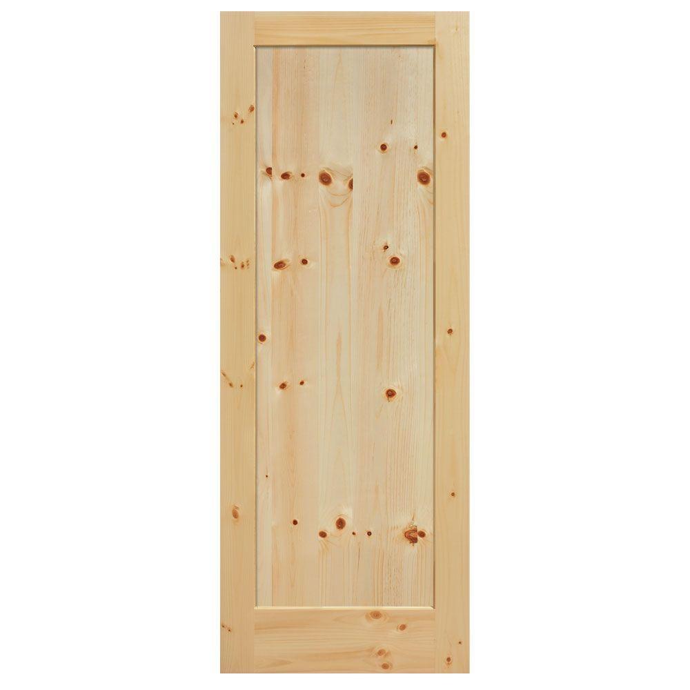 Masonite 30 in x 84 in knotty pine 1 panel shaker flat panel solid wood interior barn door for 6 panel oak interior door slab
