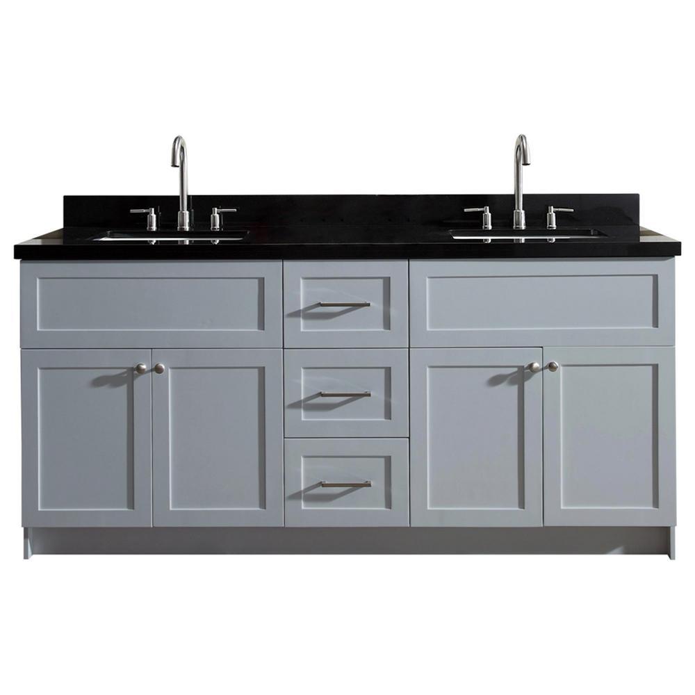 Ariel Hamlet 73 In Bath Vanity In Grey With Granite Vanity Top In Absolute Black With White Basins
