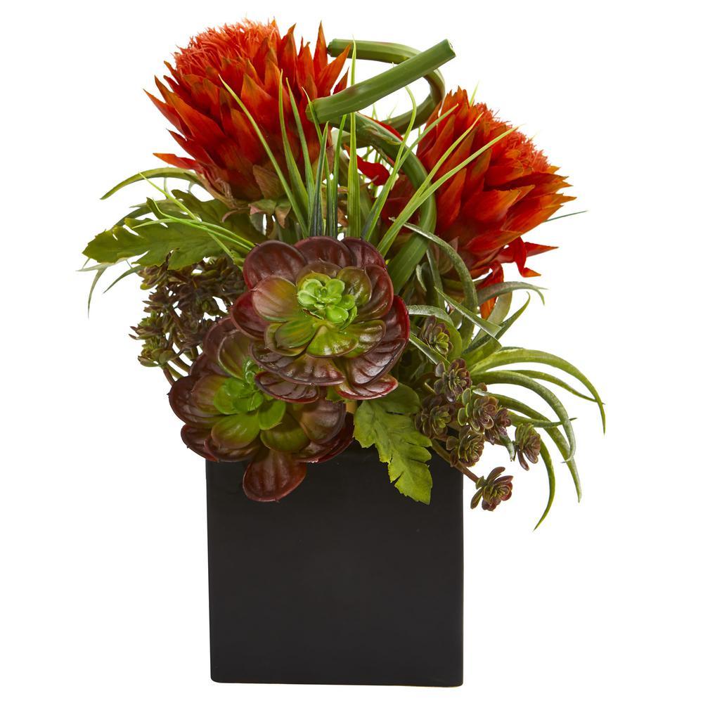 225 & Indoor Tropical Flower and Succulent Artificial Arrangement in Black Vase