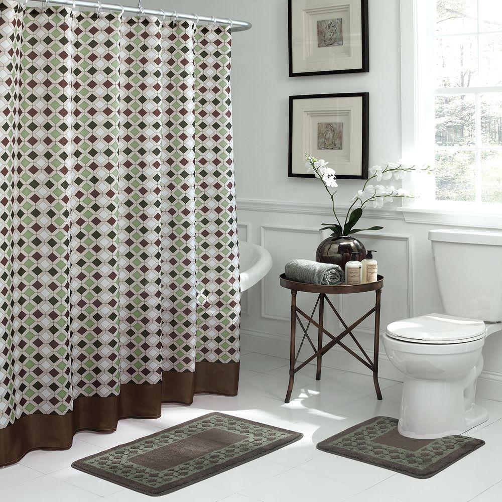 Bath Fusion Christine Chocolate Sage Bath Rug And Shower Curtain