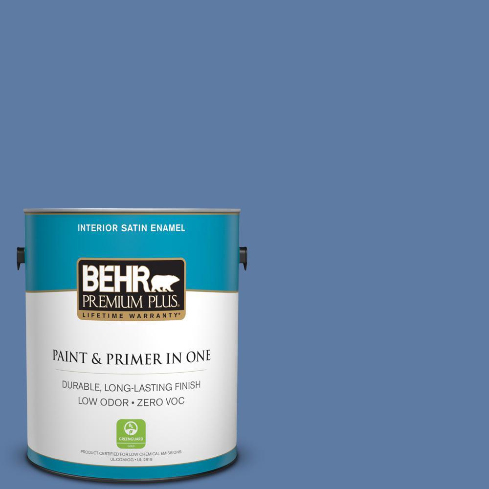 BEHR Premium Plus 1-gal. #600D-6 Blueberry Patch Zero VOC Satin Enamel Interior Paint